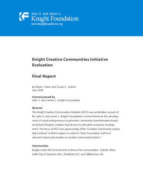 Knight Creative Communities Initiative Evaluation Final Report