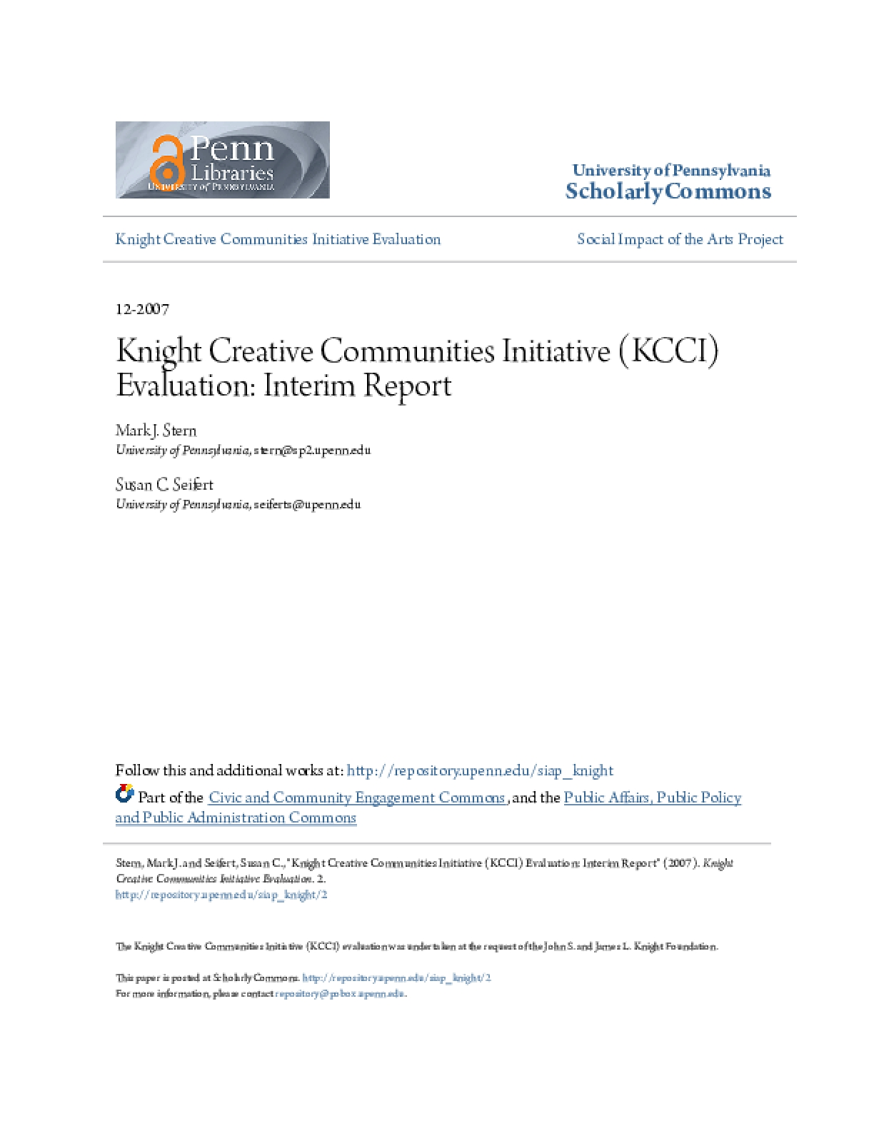 Knight Creative Communities Initiative (KCCI) Evaluation: Interim Report