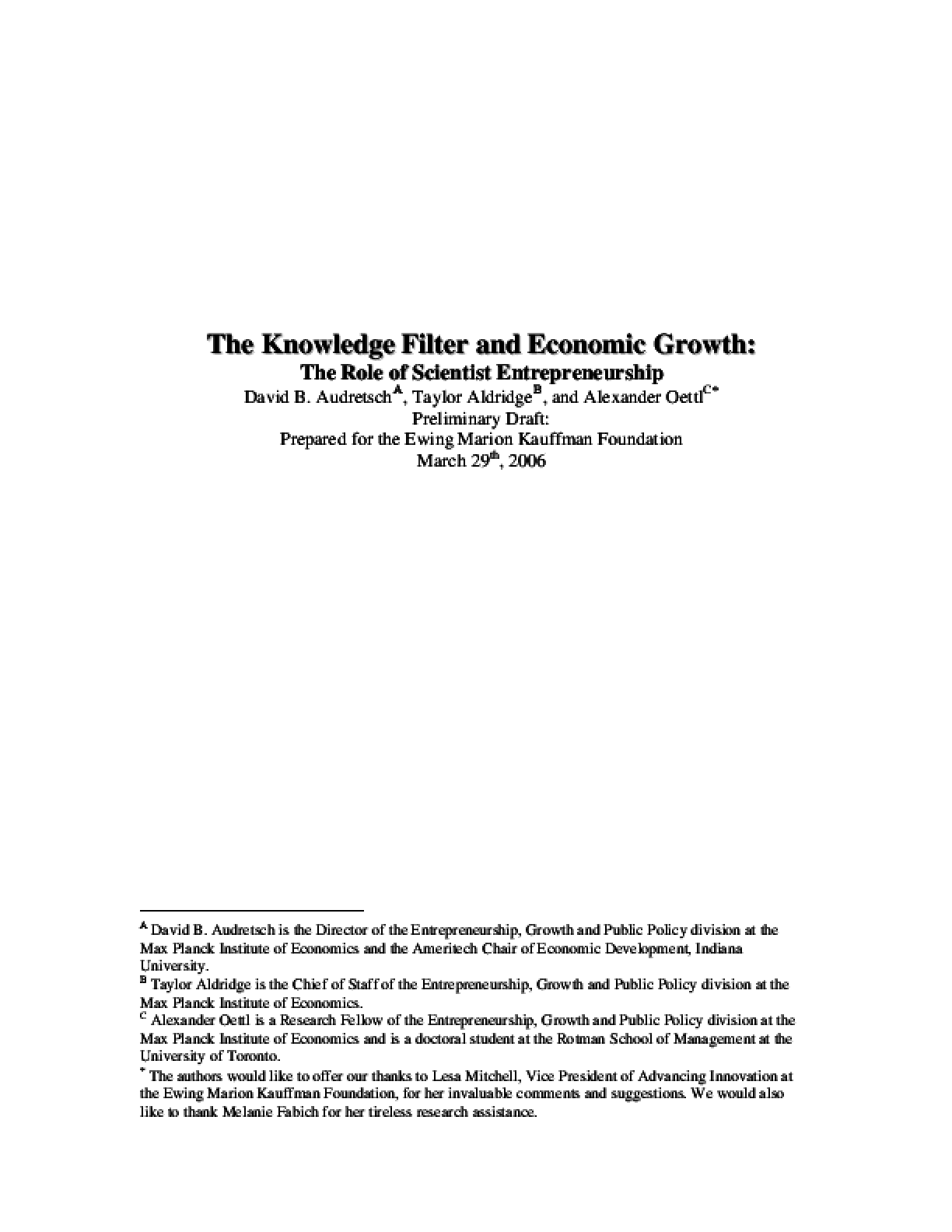 The Knowledge Filter and Economic Growth: The Role of Scientist Entrepreneurship