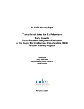 Transitional Jobs for Ex-Prisoners: Early Impacts from a Random Assignment Evaluation of the Center for Employment Opportunities (CEO) Prisoner Reentry Program