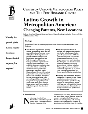 Latino Growth in Metropolitan America: Changing Patterns, New Locations