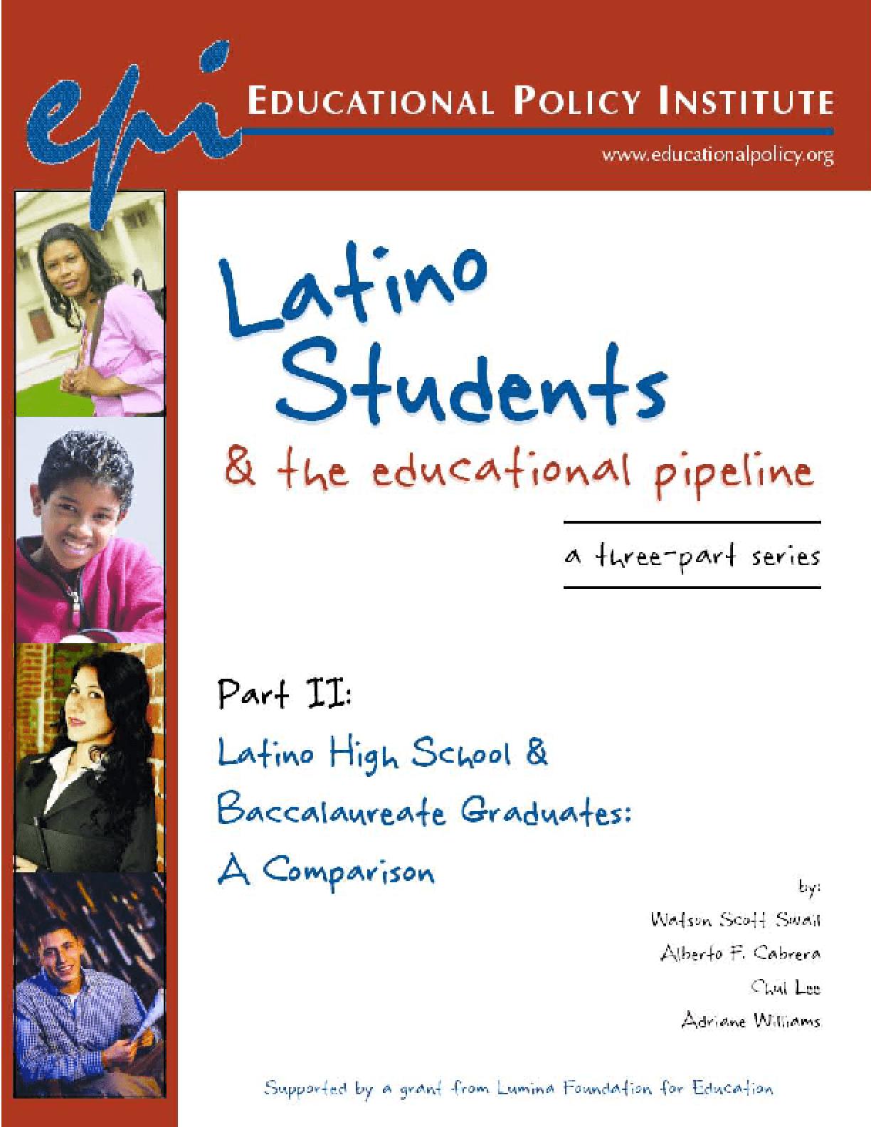 Latino High School & Baccalaureate Graduates: A Comparison