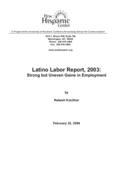 Latino Labor Report, 2003: Strong but Uneven Gains in Employment