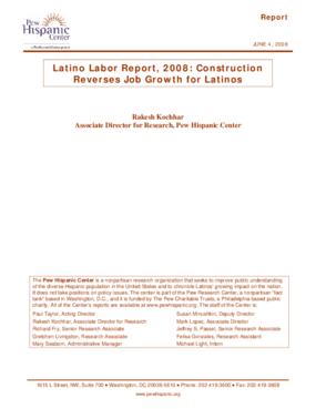 Latino Labor Report, 2008: Construction Reverses Job Growth for Latinos