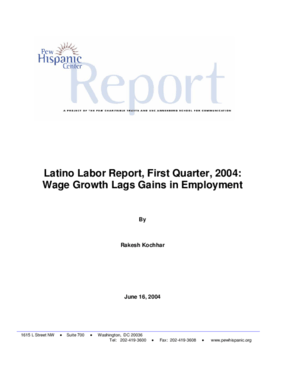 Latino Labor Report, First Quarter, 2004: Wage Growth Lags Gains in Employment