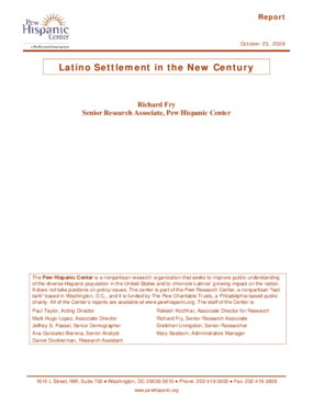 Latino Settlement in the New Century