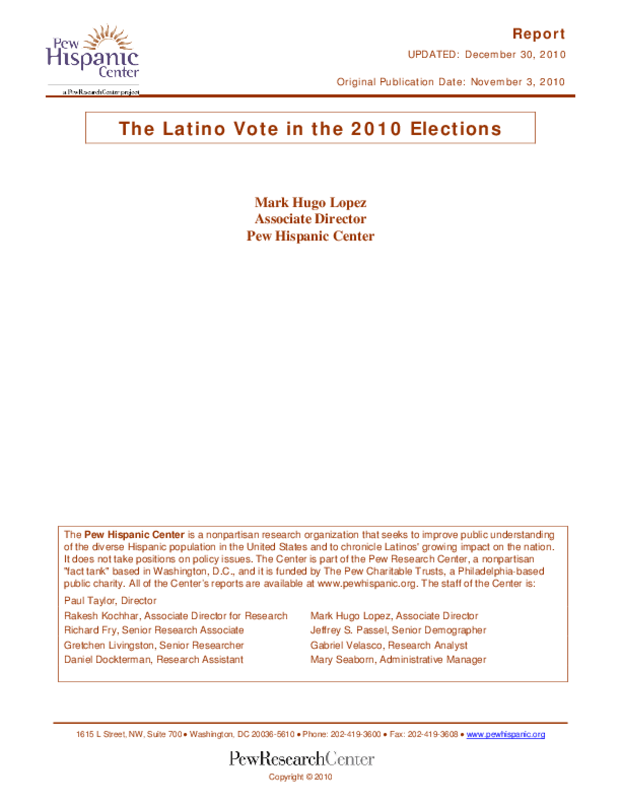 The Latino Vote in the 2010 Elections