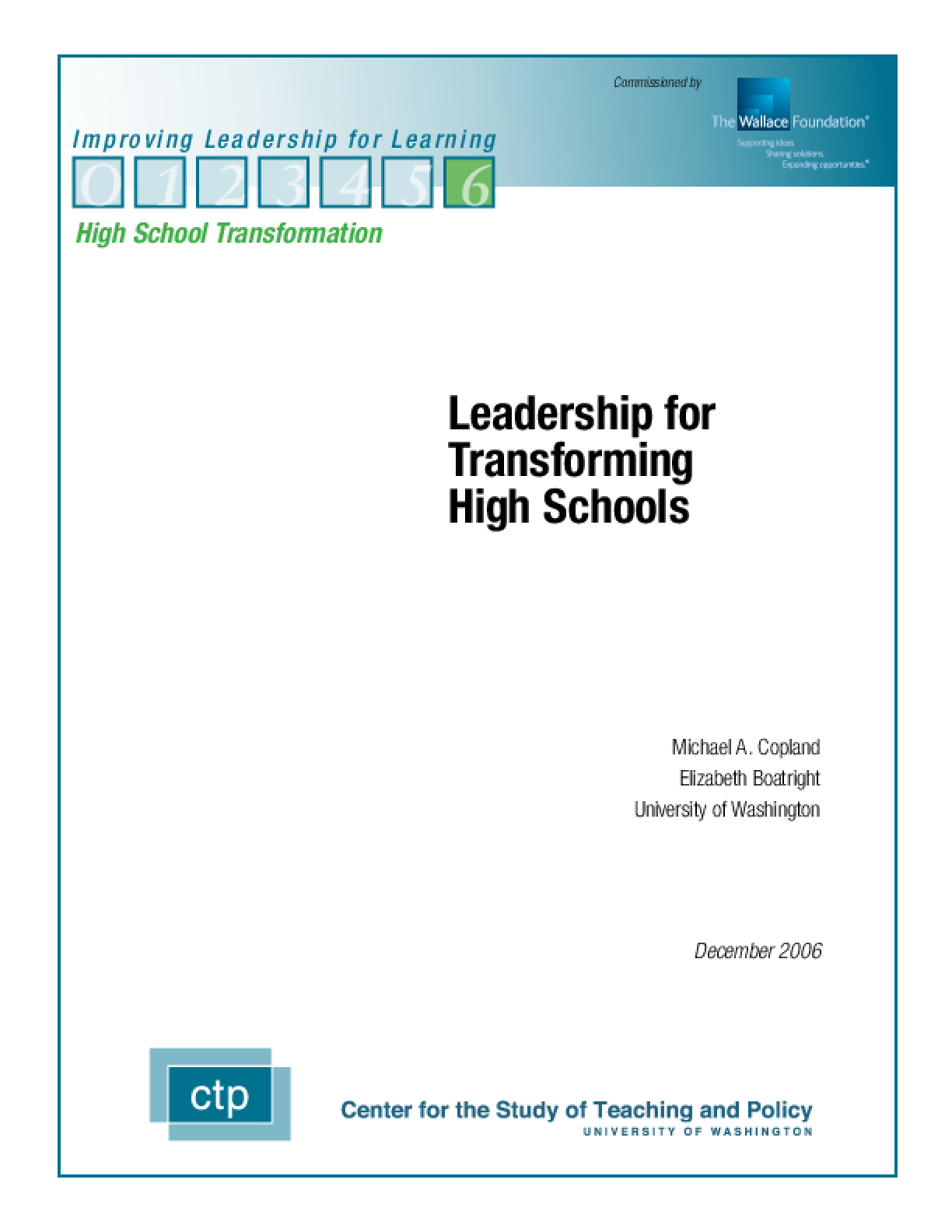 Leadership for Transforming High Schools