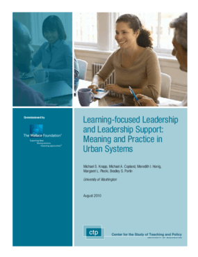 Learning-Focused Leadership and Leadership Support: Meaning and Practice in Urban Systems