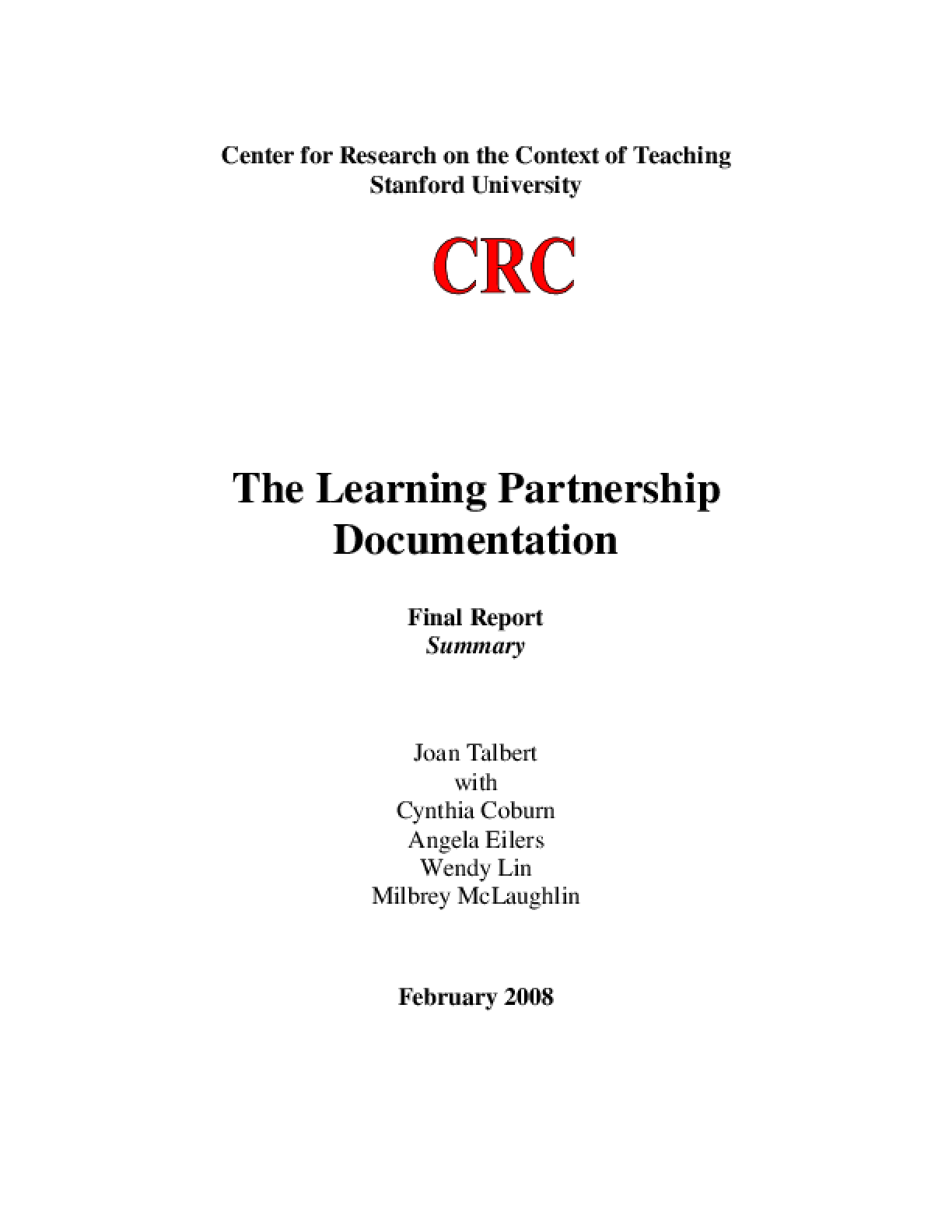 The Learning Partnership Documentation: Final Report Summary