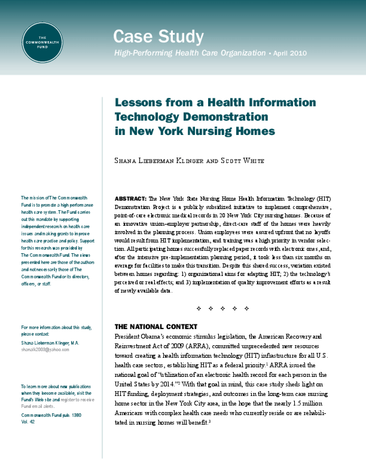Lessons From a Health Information Technology Demonstration in New York Nursing Homes
