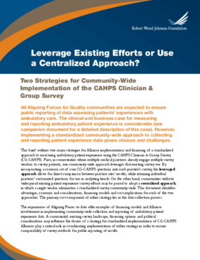 Leverage Existing Efforts or Use a Centralized Approach?