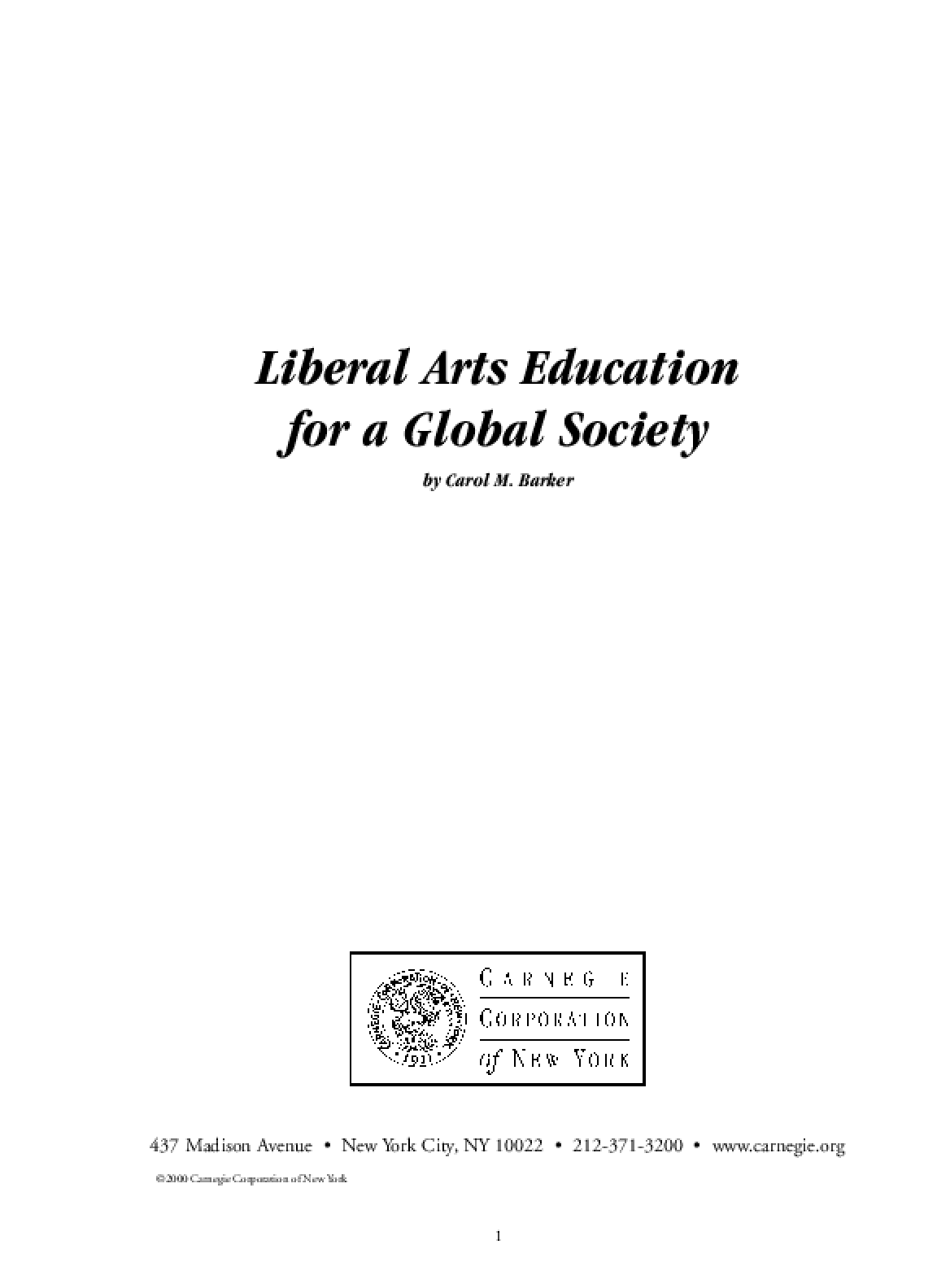 Liberal Arts Education for a Global Society