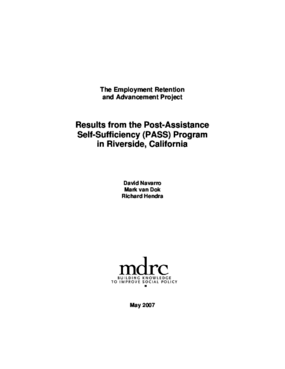 Employment Retention and Advancement Project: Results from the Post-Assistance Self-Sufficiency (PASS) Program in Riverside, California