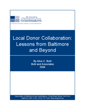 Local Donor Collaboration: Lessons From Baltimore and Beyond