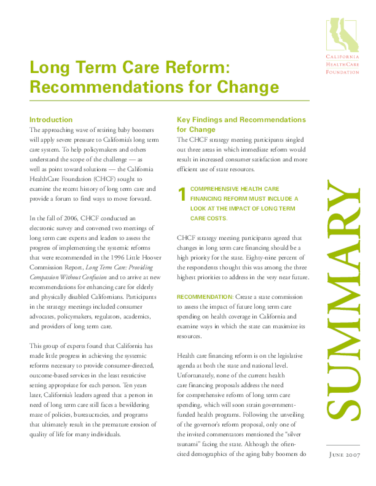 Long Term Care Reform: Recommendations for Change