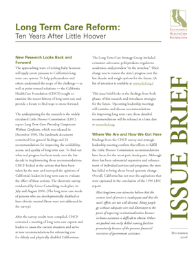Long Term Care Reform: Ten Years After Little Hoover