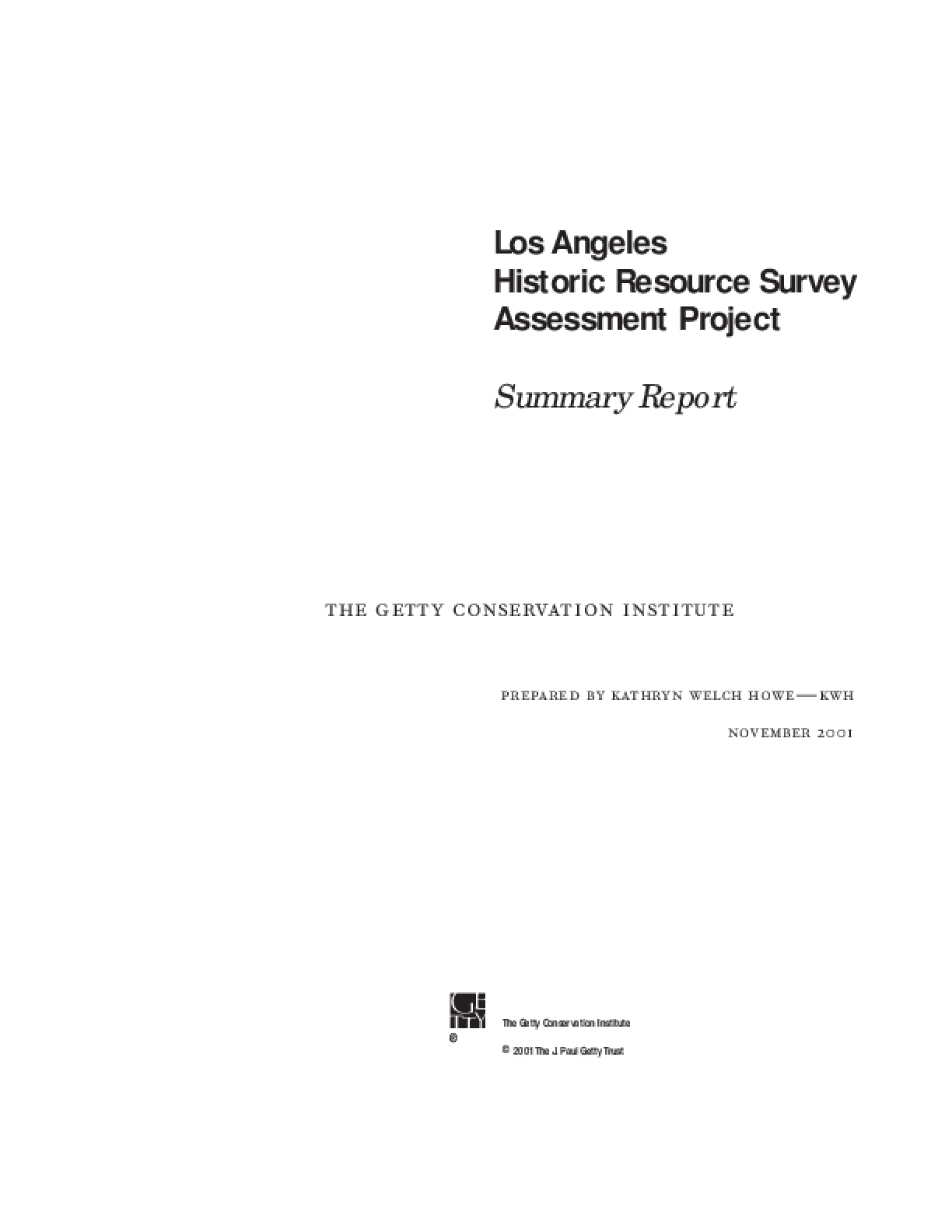 Los Angeles Historic Resource Survey Assessment Project: Summary Report