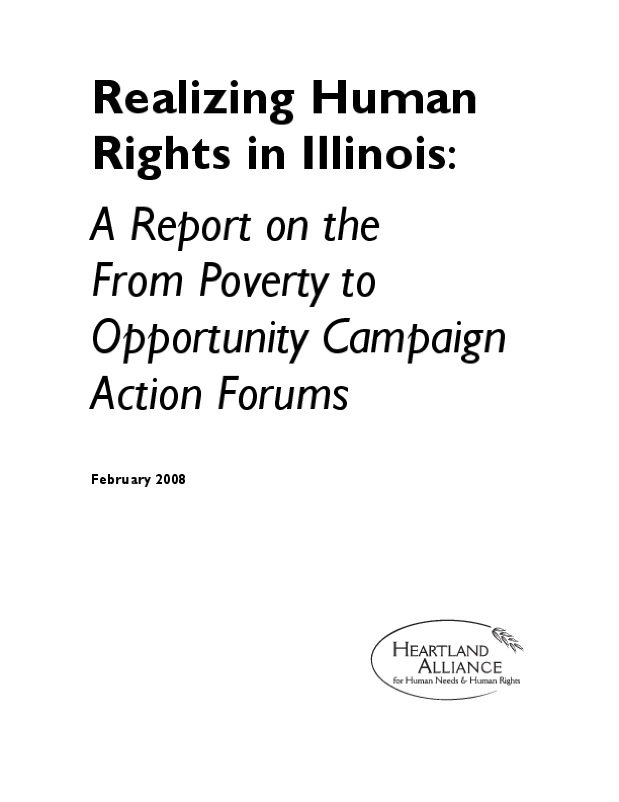 Realizing Human Rights in Illinois: A Report on the From Poverty to Opportunity Campaign Action Forums