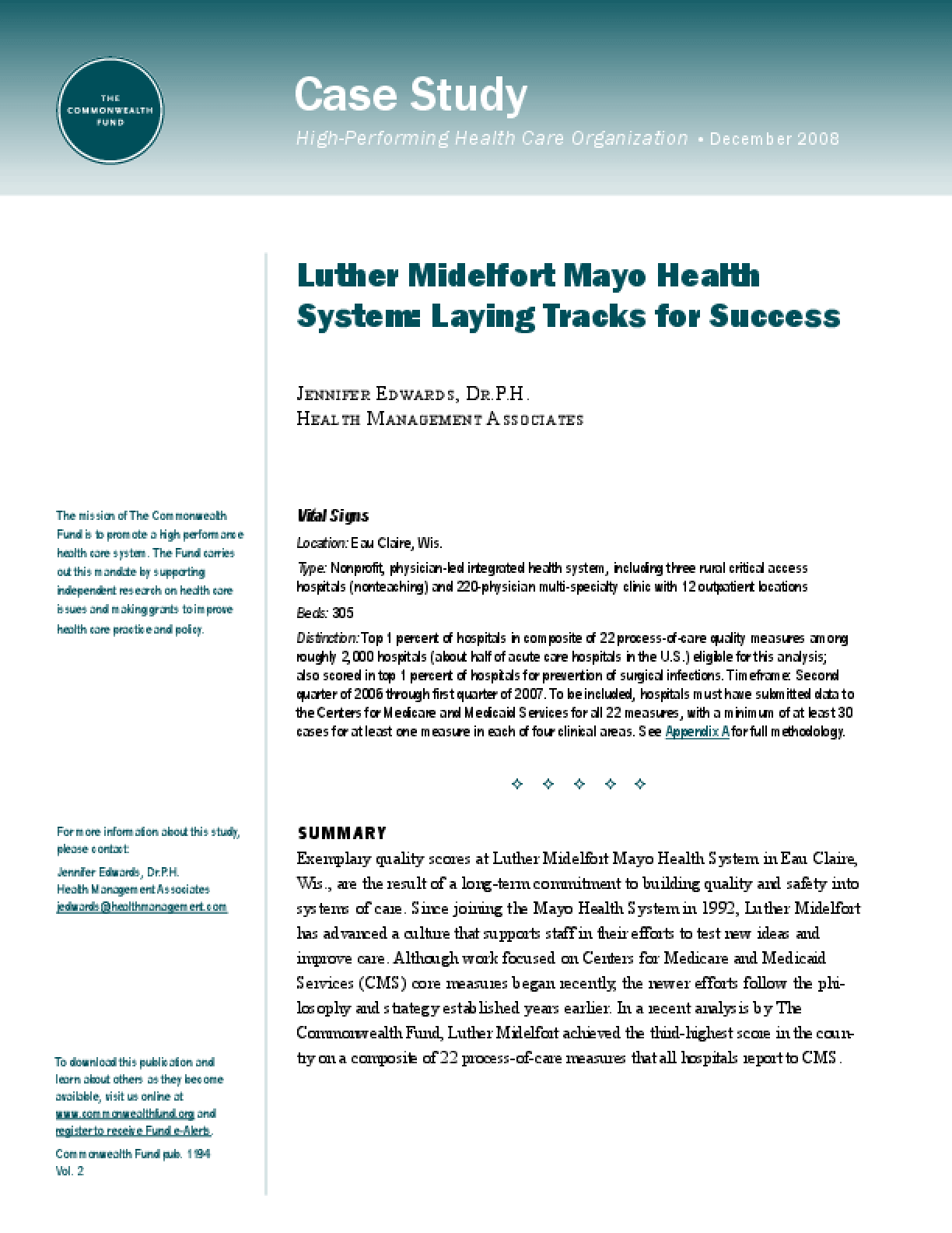 Luther Midelfort Mayo Health System: Laying Tracks for Success