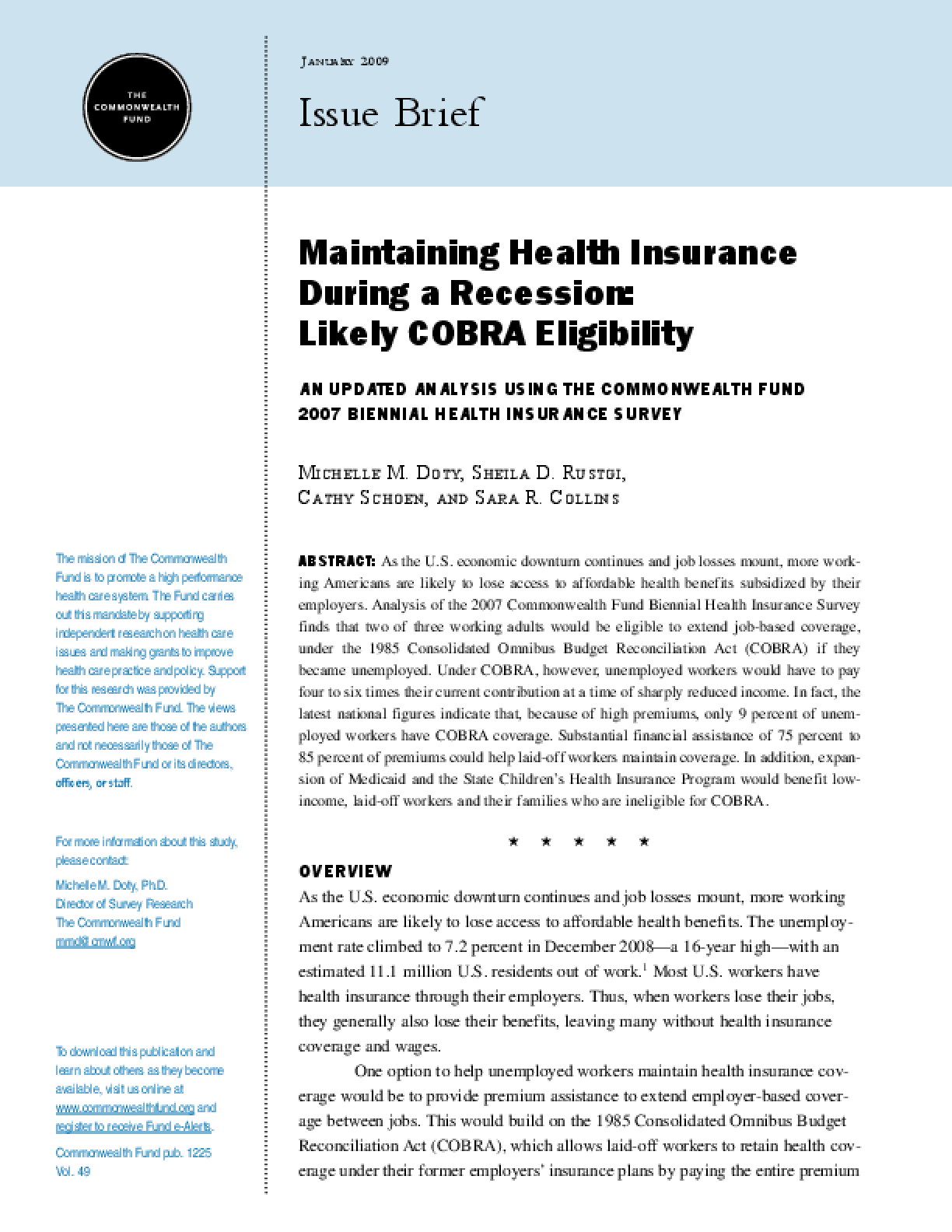 Maintaining Health Insurance During a Recession: Likely COBRA Eligibility