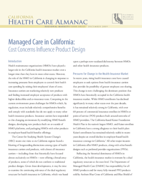 Managed Care in California: Cost Concerns Influence Product Design