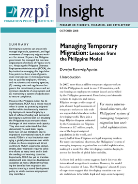 Managing Temporary Migration: Lessons From the Philippine Model
