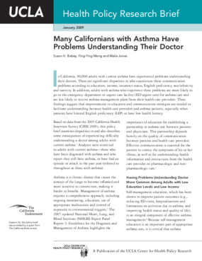 Many Californians With Asthma Have Problems Understanding Their Doctor