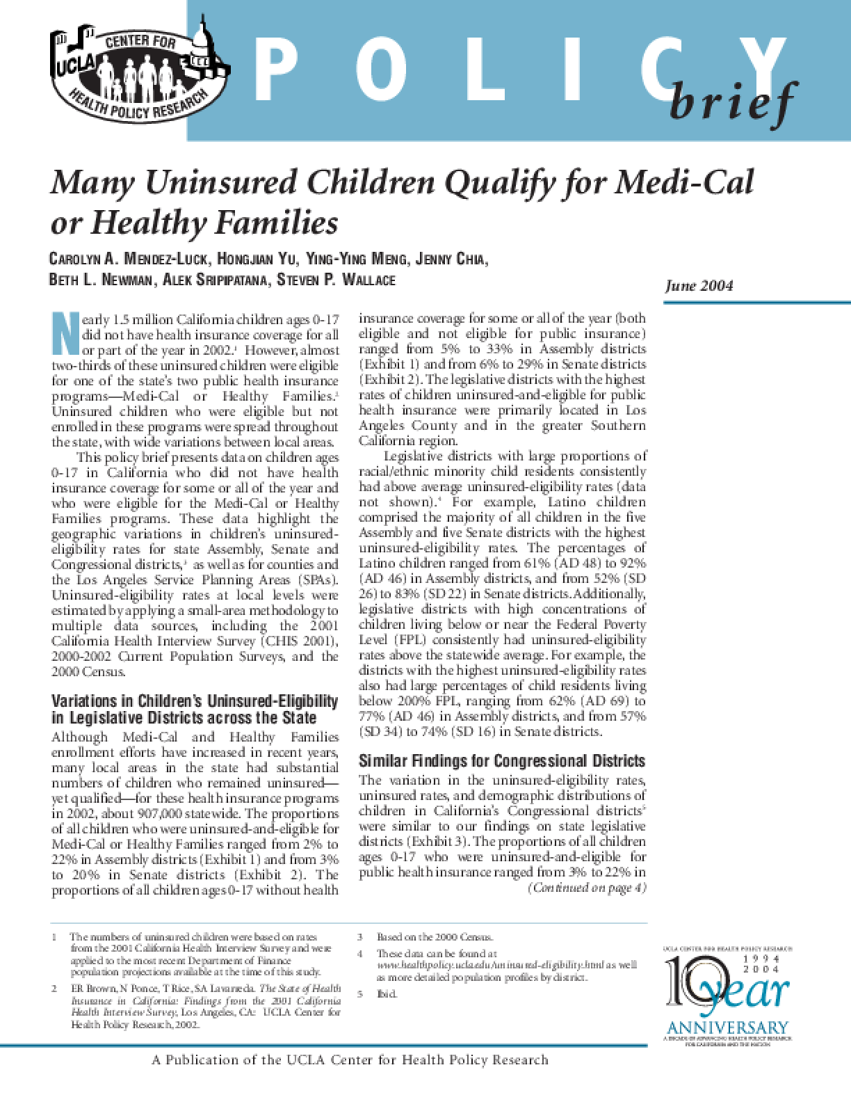Many Uninsured Children Qualify for Medi-Cal or Healthy Families