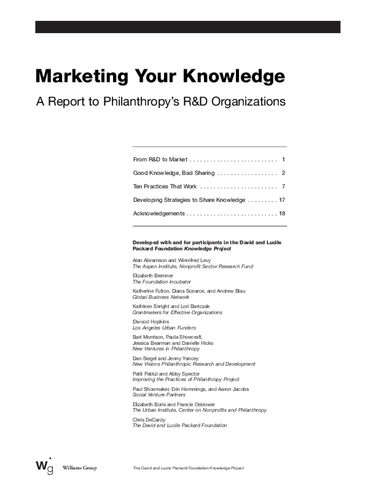 Marketing Your Knowledge: A Report to Philanthropy's R&D Organizations