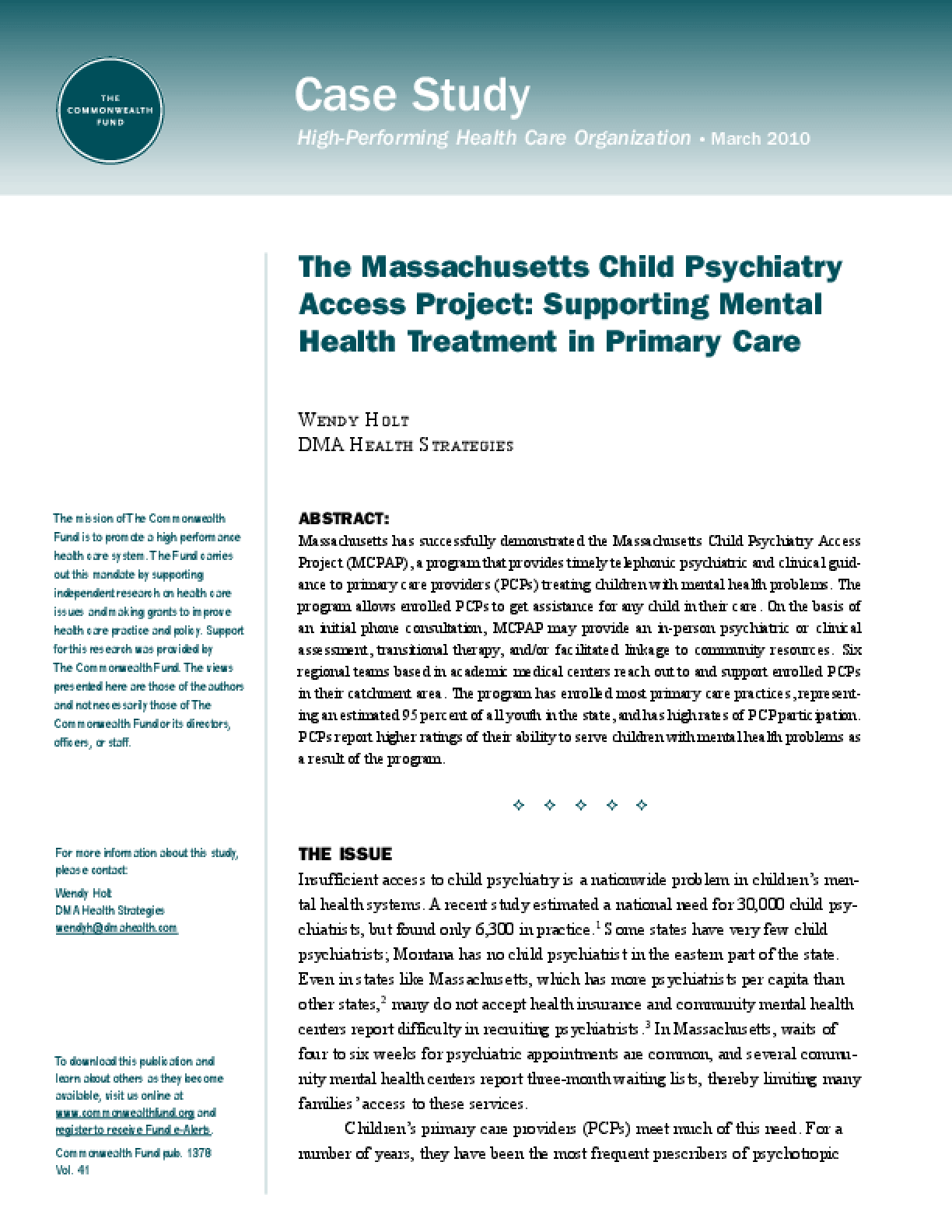 The Massachusetts Child Psychiatry Access Project: Supporting Mental Health Treatment in Primary Care