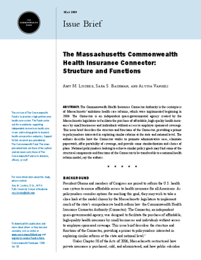 The Massachusetts Commonwealth Health Insurance Connector: Structure and Functions