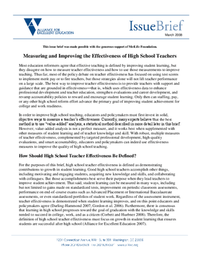 Measuring and Improving the Effectiveness of High School Teachers