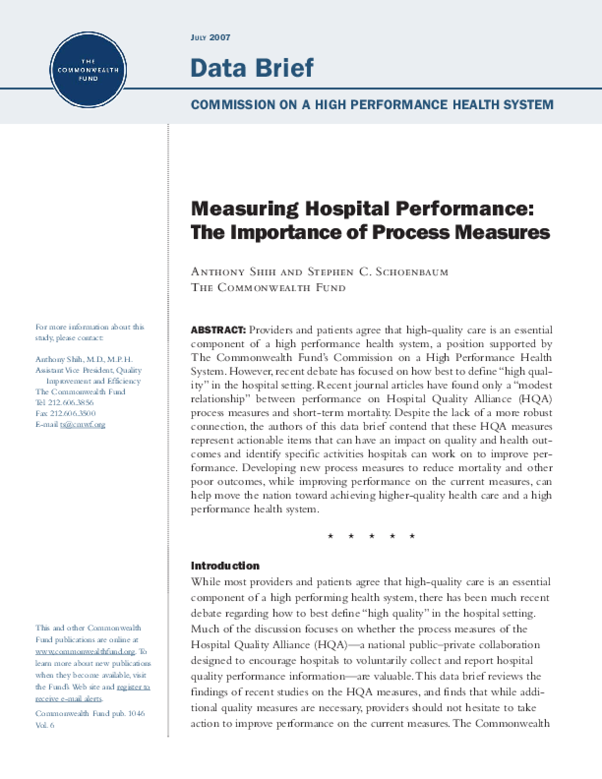 Measuring Hospital Performance: The Importance of Process Measures