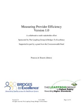 Measuring Provider Efficiency, Version 1.0, A Collaborative Multi-Stakeholder Effort