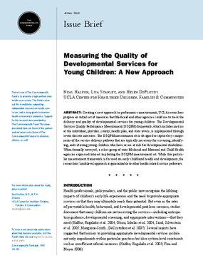 Measuring the Quality of Developmental Services for Young Children: A New Approach