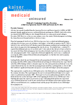 Medicaid's Continuing Crunch in a Recession: A Mid-Year Update for State FY 2010 and Preview for FY 2011