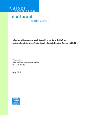 Medicaid Coverage and Spending in Health Reform: National and State-by-State Results for Adults at or Below 133% FPL