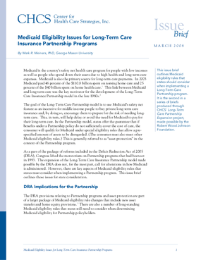 Medicaid Eligibility Issues for Long-Term Care Insurance Partnership Programs