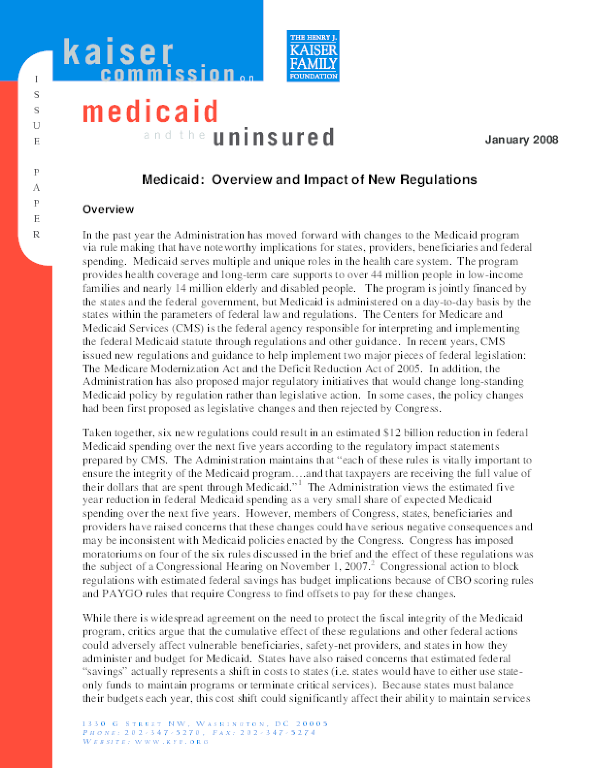 Medicaid: Overview and Impact of New Regulations