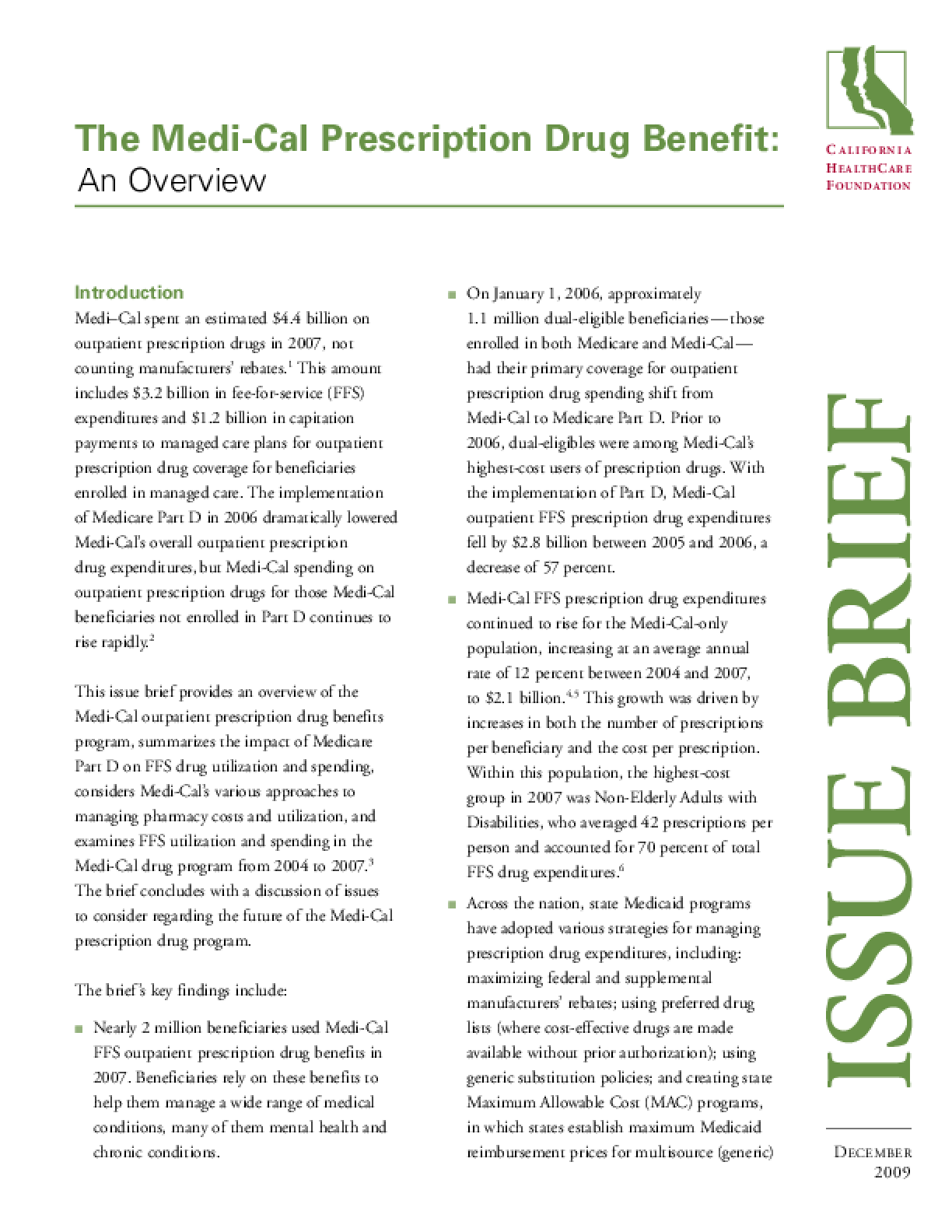 The Medi-Cal Prescription Drug Benefit: An Overview