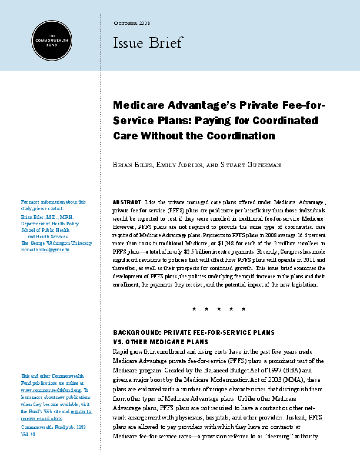 Medicare Advantage's Private Fee-for-Service Plans: Paying for Coordinated Care Without the Coordination