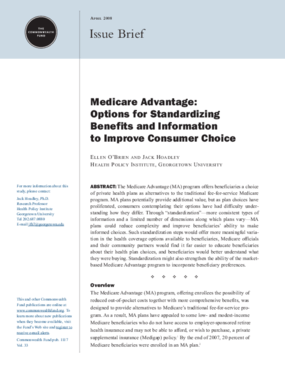 Medicare Advantage: Options for Standardizing Benefits and Information to Improve Consumer Choice