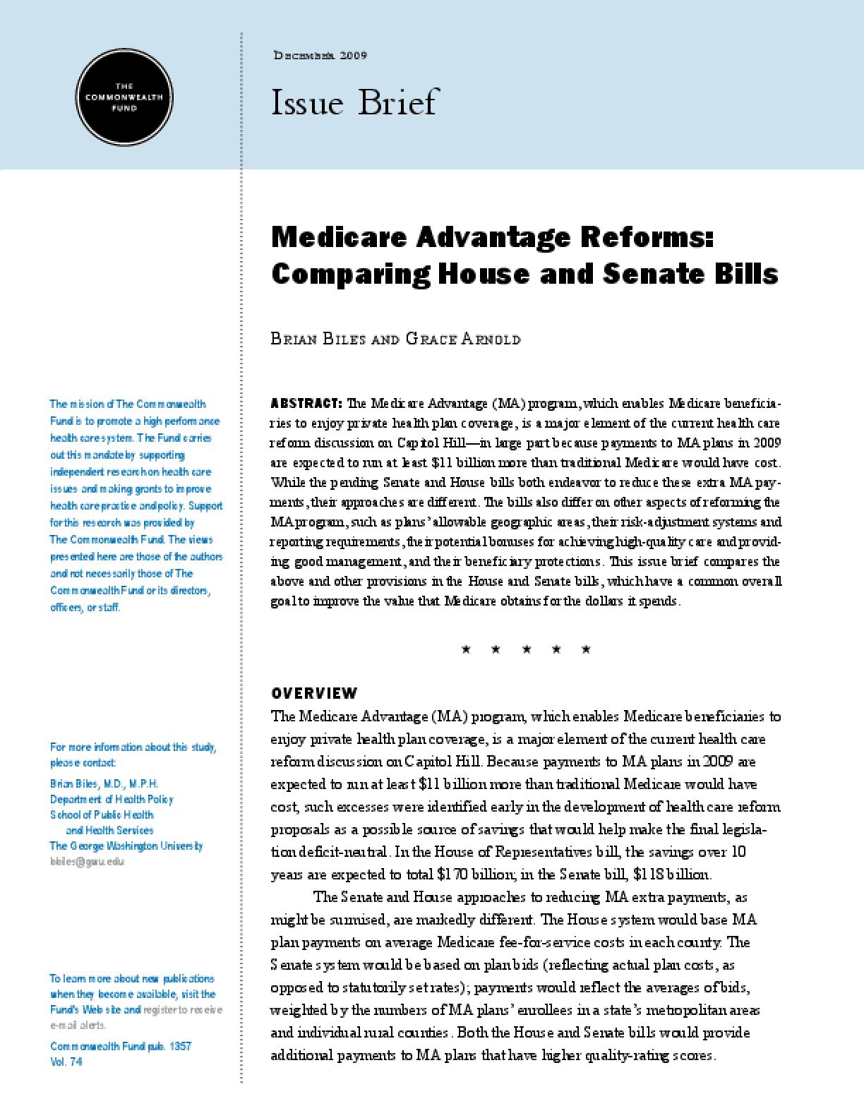 Medicare Advantage Reforms: Comparing House and Senate Bills