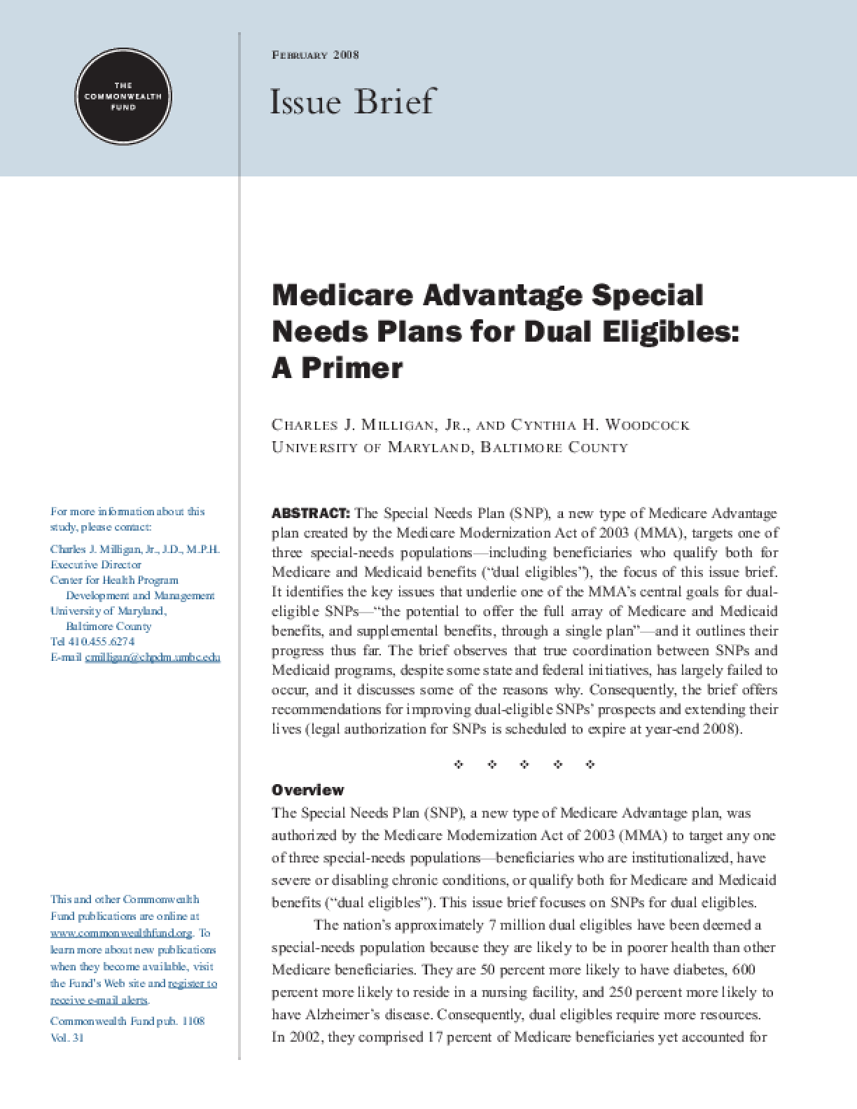 Medicare Advantage Special Needs Plans for Dual Eligibles: A Primer