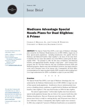 Medicare Advantage Special Needs Plans for Dual Eligibles: A Primer