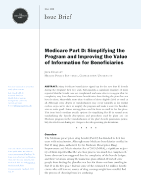 Medicare Part D: Simplifying the Program and Improving the Value of Information for Beneficiaries