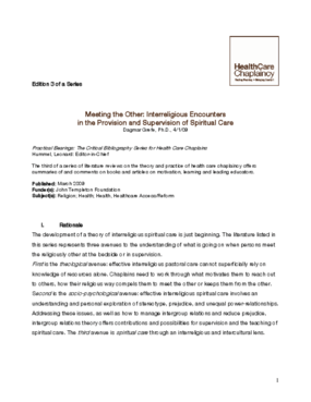 Meeting the Other: Interreligious Encounters in the Provision and Supervision of Spiritual Care