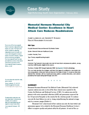 Memorial Hermann Memorial City Medical Center: Excellence in Heart Attack Care Reduces Readmissions