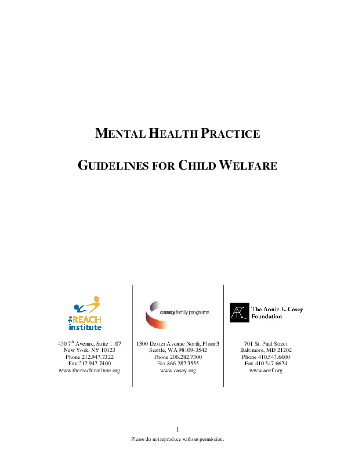 Mental Health Practice: Guidelines for Child Welfare